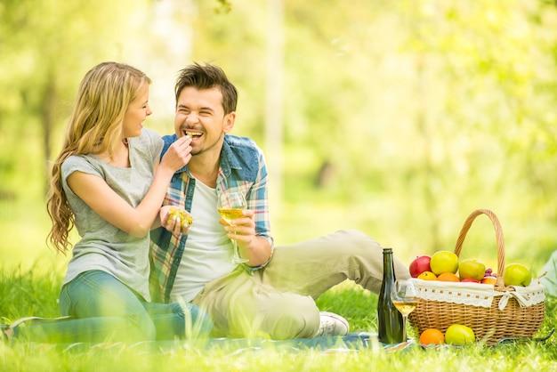 美しいカップルは、公園でピクニックを持っているカジュアルな服を着てください。