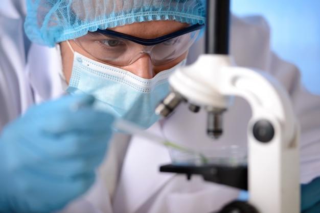 マスクとメガネの男は顕微鏡で実験しています。