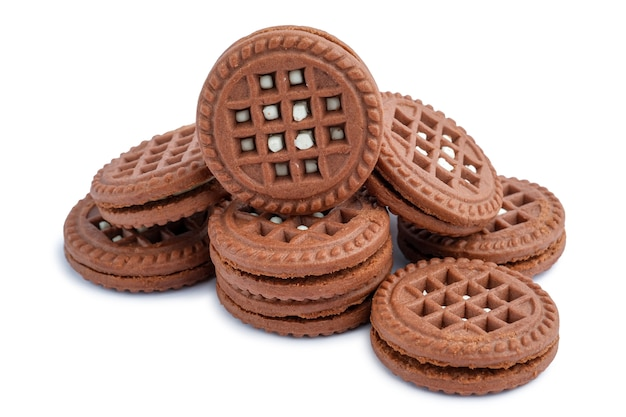 ブラウンチョコレートミルキークリーム充填クッキー分離