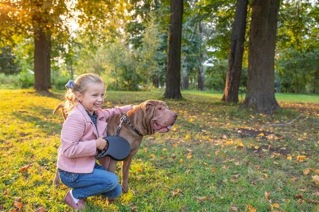 公園で小さな女の子と純血種のシャーペイ犬。シャーペイはよそ見しています。