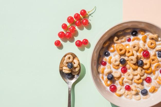 ブルーベリー、赤スグリ、スプーンのオート麦シリアルのボウル。ベリーとミルクのオートリングシリアル。健康的な朝食、健康的な食事の概念。フラットレイ、ミニマリズム