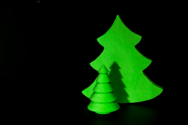 ヴィンテージの木製クリスマスツリーにクローズアップ
