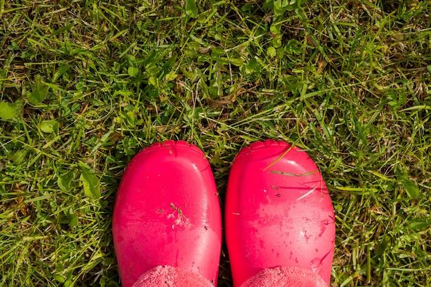 雨の後の庭に立っているゴム長靴