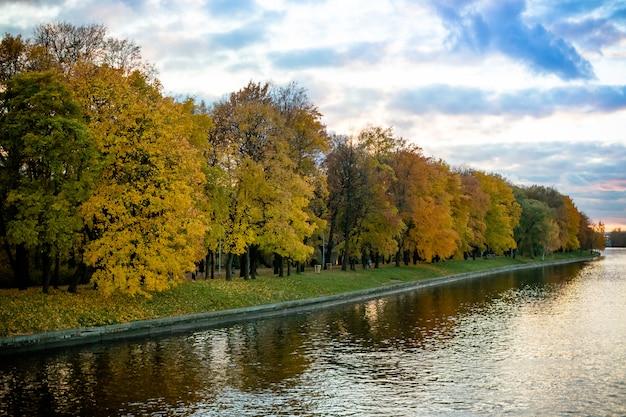曇りの天候で湖の近くの秋の木々。