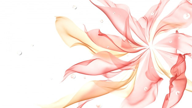 白の流れるピンク色の布
