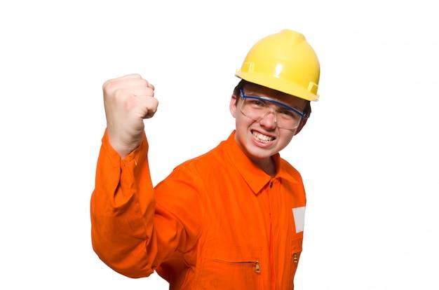 Человек в оранжевых комбинезонах, изолированных на белом