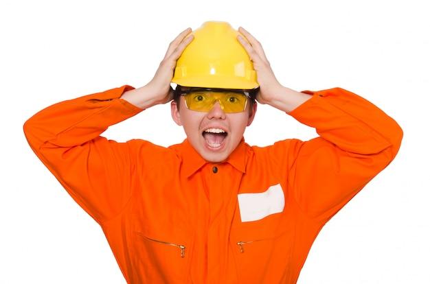 白で隔離されるオレンジ色のつなぎ服の男