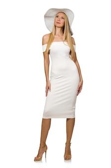 白で隔離されエレガントなドレスのブロンディ