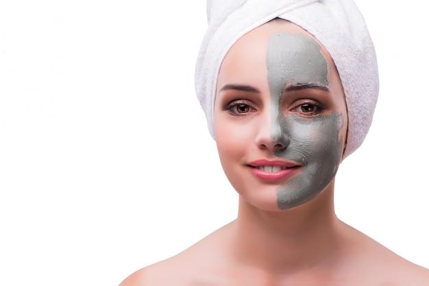 白で隔離顔治療コンセプトの女性