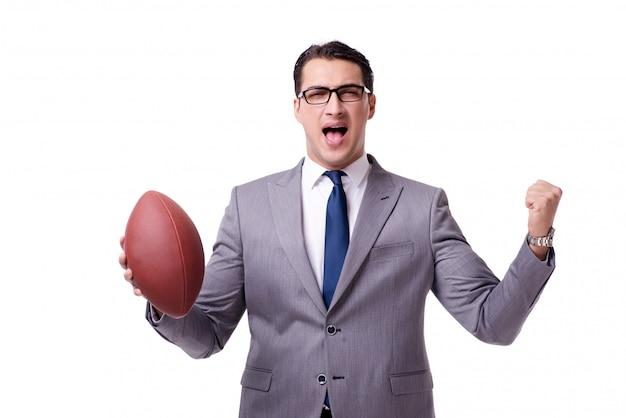 白で隔離アメリカンフットボールを持ったビジネスマン