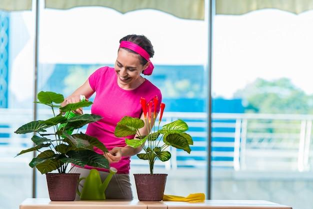 Молодая женщина заботится о домашних растений