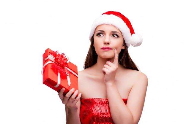 クリスマスの概念で雪の少女衣装の若い女性