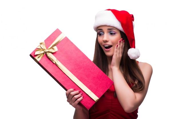 白で隔離クリスマスコンセプトでかわいい女の子