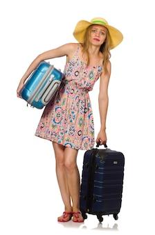 分離されたスーツケースを持つ女性