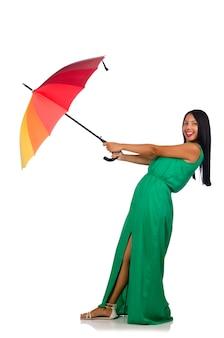 Изолированная женщина зонтика белая