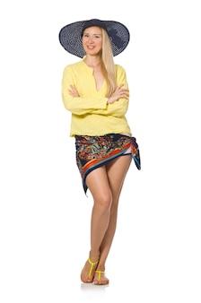 分離された帽子を身に着けている背の高い白人モデル