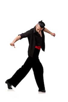 分離されたスペインの踊りを踊る男ダンサー