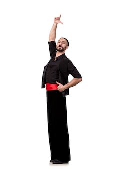 Танцор человека танцуя изолированные испанские танцы