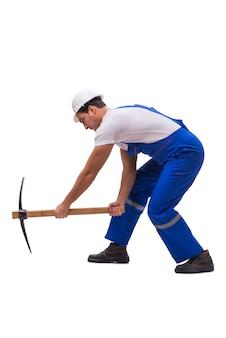 白で隔離斧を持つ男