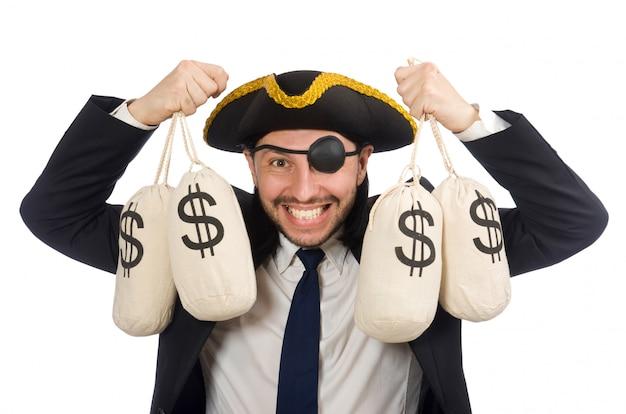 白で隔離されるお金の袋を保持している海賊実業家