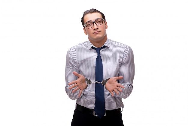 Бизнесмен в наручниках, изолированный на белом