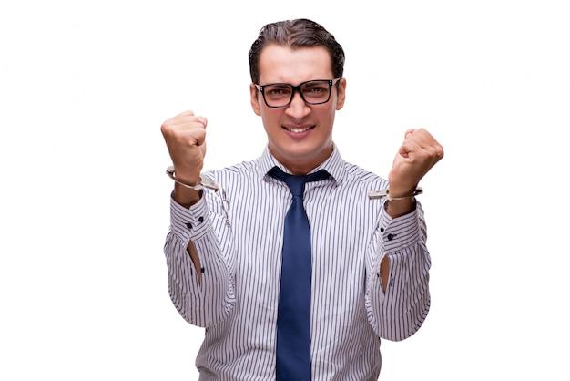 白で隔離される手錠をかけられて実業家