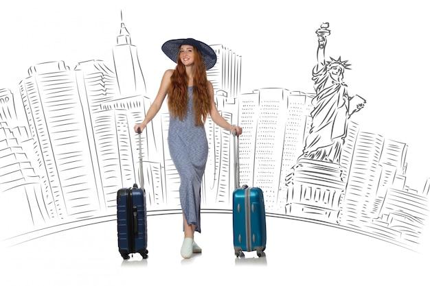 アメリカへの旅行若い女性