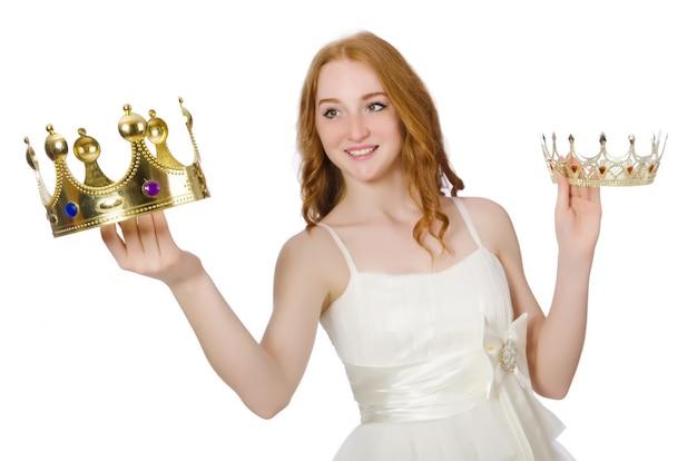 白で隔離される王冠を持つ女性