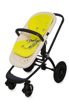 Детская коляска на белом фоне