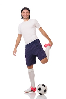 若いサッカー選手、白で隔離
