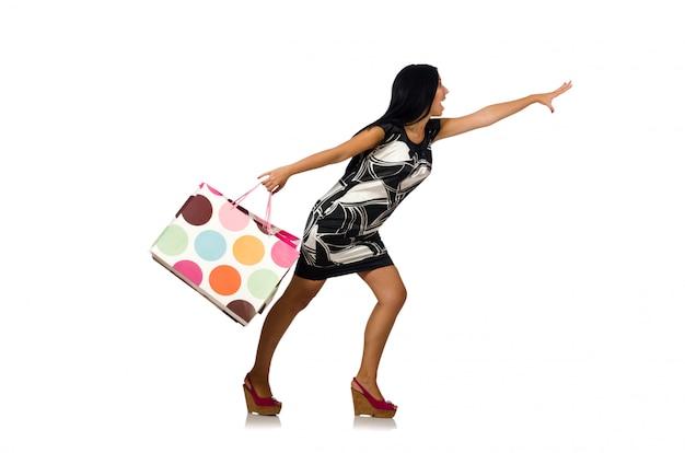 Женщина с сумками, изолированные на белом