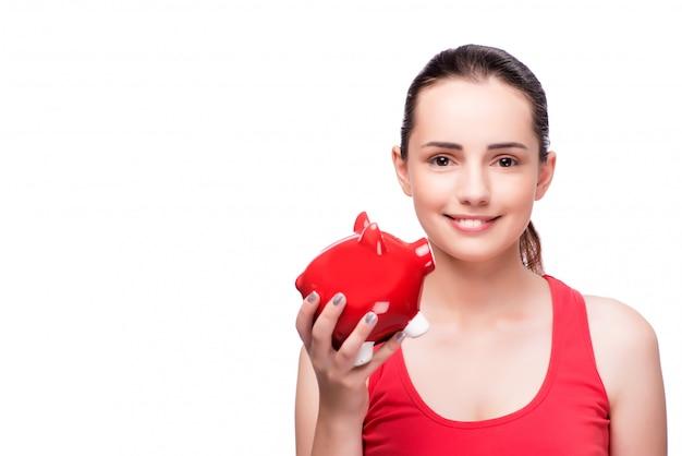 白で隔離される貯金を持つ女性