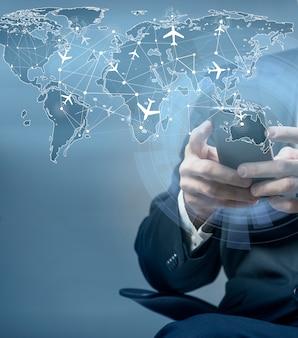 航空旅行のオンライン予約の概念