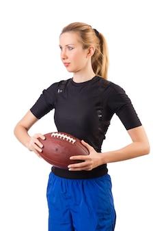 白で隔離アメリカンフットボールを持つ女性