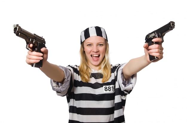 囚人、白で隔離