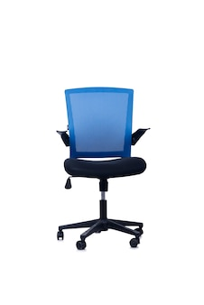 白い背景に分離された青いオフィスチェア