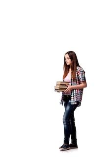 白い背景で隔離の本を持つ学生
