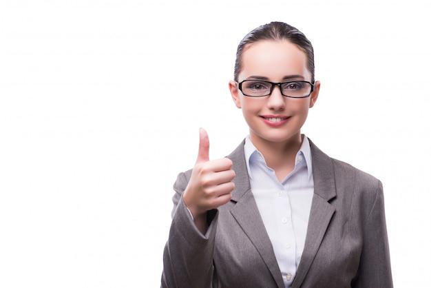 上に分離されてビジネスコンセプトでエレガントな美しい女性実業家