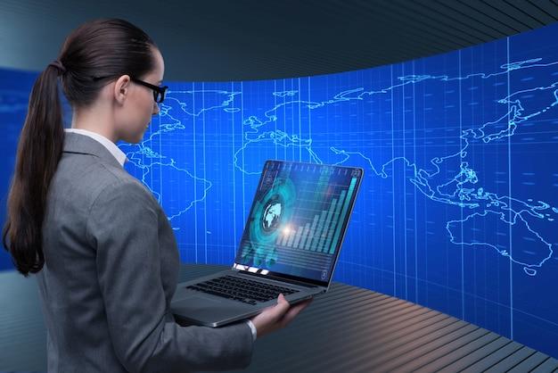 グローバルビジネスコンセプトの女性実業家