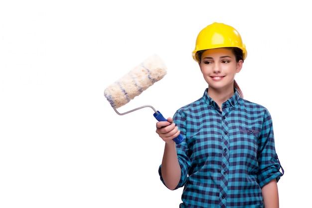 白で隔離産業コンセプトの若い女性
