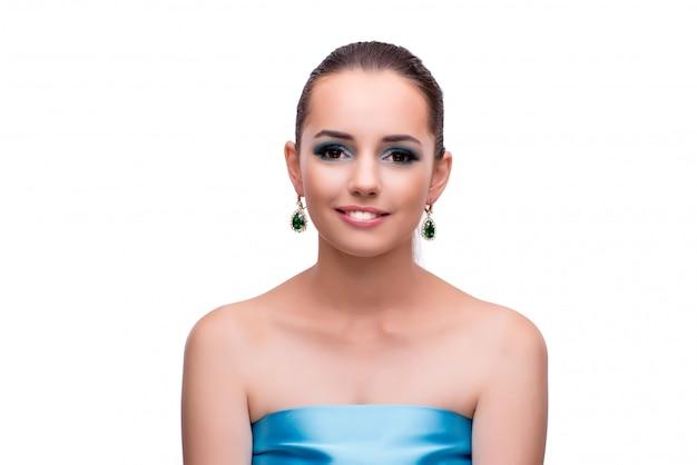 Молодая женщина в концепции красоты, изолированные на белом