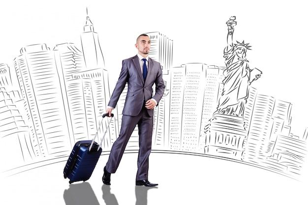 ニューヨークへの旅行に若い実業家