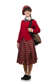 白で隔離スコットランドのタータン服の女の子