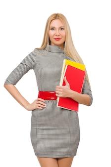 Красивая учительница с книгами на белом фоне