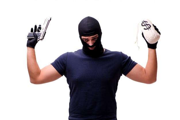 白で隔離目出し帽を身に着けている強盗