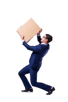 白で隔離される実業家リフティングボックス