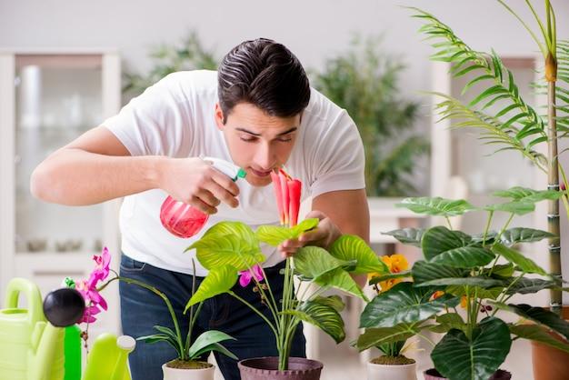 自宅で植物の世話をする男