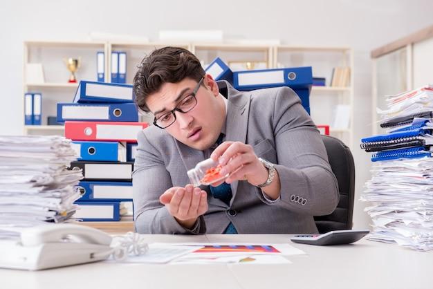 ストレスに対処するために薬を服用している実業家