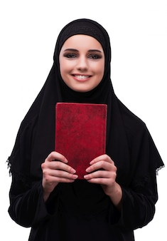 白で隔離黒のドレスでイスラム教徒の女性