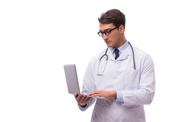 白で隔離のラップトップを持つ医師